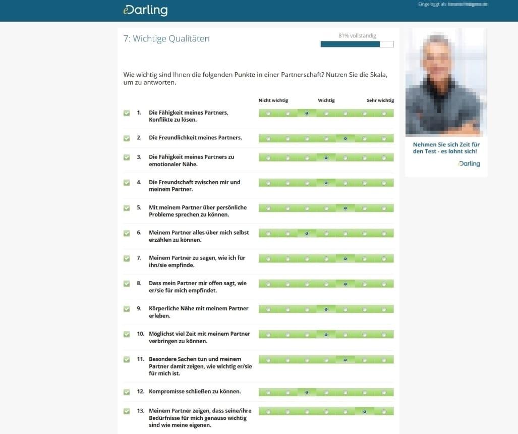 eDarling Fragebogen